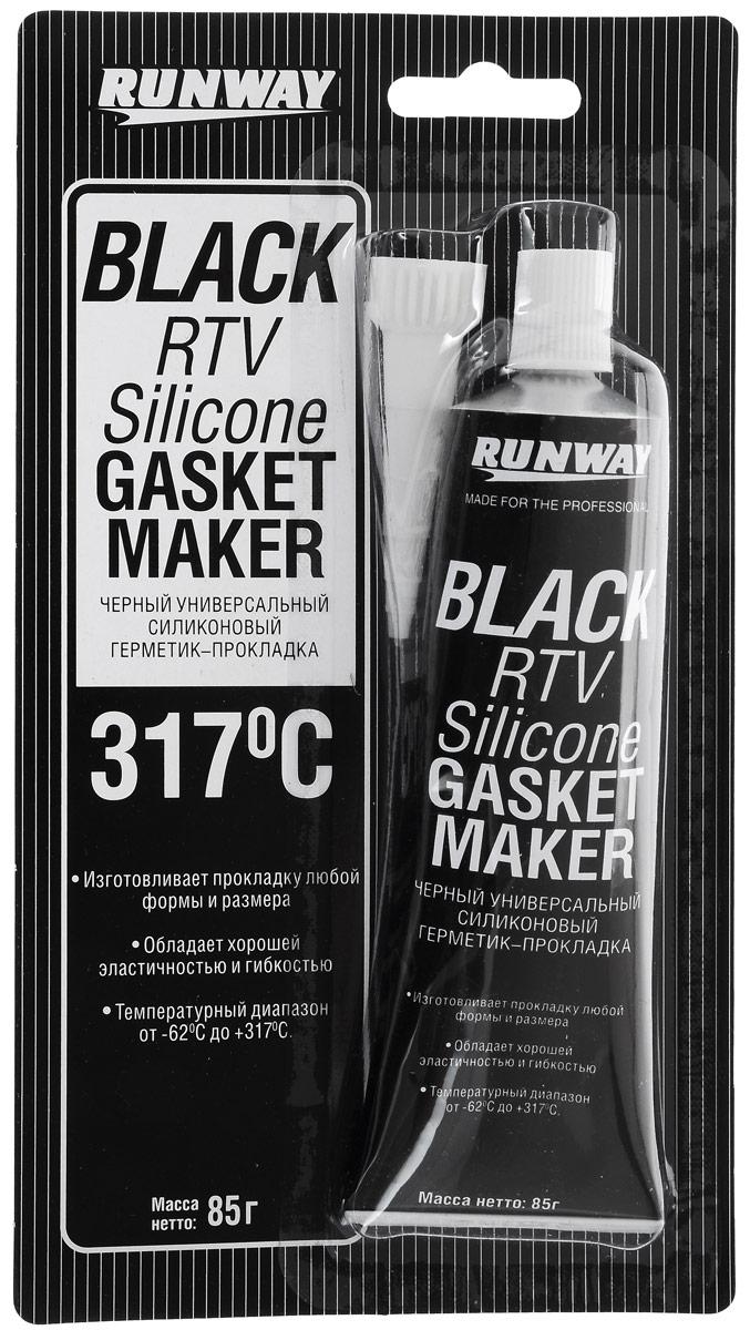 Силиконовый герметик-прокладка Runway, универсальный, цвет: черный, 85 гRW8501Универсальный силиконовый черный герметик-прокладка Runway предназначен для быстрого и надежного формирования автомобильных прокладок любых размеров и формы. Заполняет мельчайшие трещины, обладает хорошей адгезией, эластичностью и упругостью. Применяется для любых автомобильных прокладок, клапанов, термостатов, впускных коллекторов, трансмиссии. Можно использовать для крепления неподвижных стекол. Отлично подходит для использования в быту. Диапазон рабочих температур от -62 до +317°С. Устойчив к воздействию атмосферных осадков и химикатов, не подвергается коррозии.