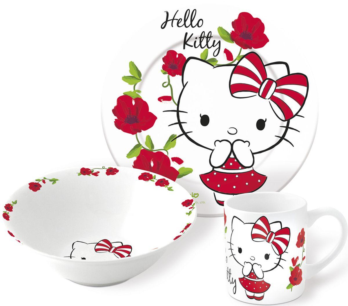 Hello Kitty Набор детской посуды 3 предмета46265Набор детской посуды Hello Kitty состоит из кружки и двух тарелок, изготовленных из ударопрочной керамики. Предметы набора оформлены изображением кошечки Hello Kitty. Такой набор привлечет внимание вашего ребенка и не позволит ему скучать. Яркий дизайн посуды превратит прием пищи ребенка в увлекательное занятие.Предметы набора можно мыть в посудомоечной машине.