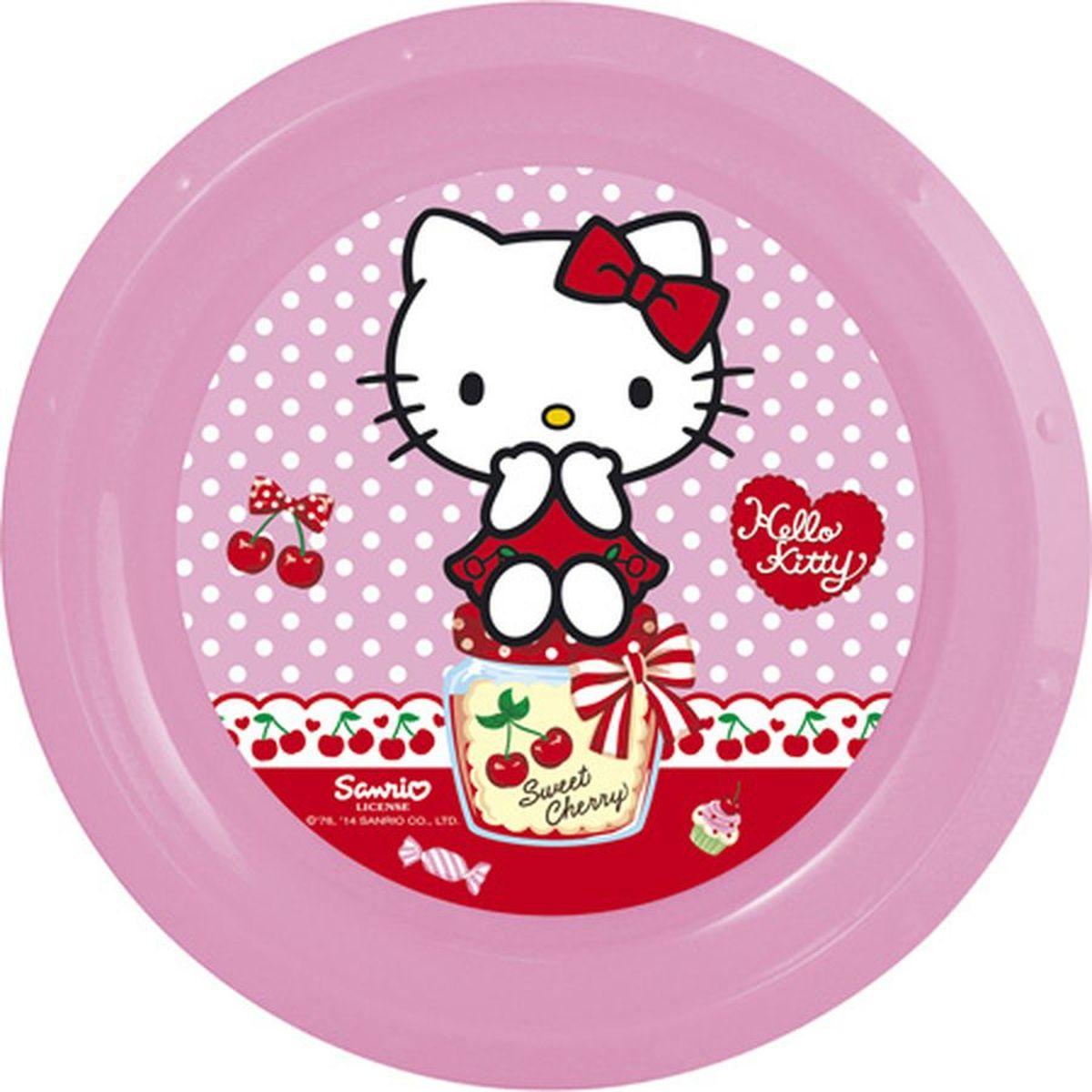 """Детская тарелка """"Hello Kitty"""", изготовленная из пластика, декорирована ярким рисунком.Такая тарелка прекрасно подходит как для торжественных случаев, так и для повседневного использования.Она прекрасно оформит стол и  станет отличным дополнением к вашей коллекции кухонной посуды. Диаметр тарелки (по верхнему краю): 21, 5 см."""