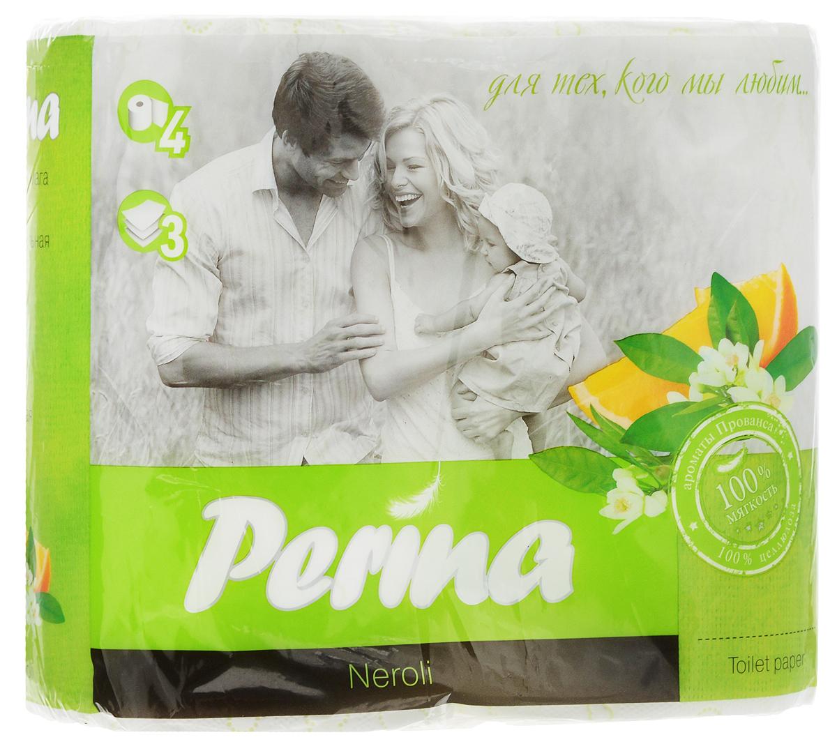 """Ароматизированная туалетная бумага  Perina """"Neroli"""" выполнена из натуральной целлюлозы и обладает  приятным ароматом. Трехслойная туалетная бумага мягкая, нежная, но в тоже время прочная. Листы имеют  рисунок с перфорацией.  Длина рулона: 18,8 м. Количество листов: 150 шт. Количество слоев: 3. Размер листа: 12,5 х 9,4 см. Состав: 100% целлюлоза."""