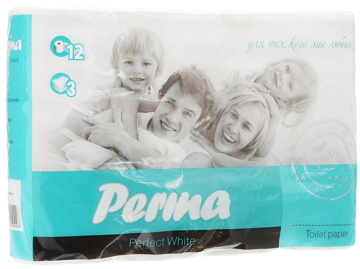 """Туалетная бумага  Perina """"Perfect White"""" выполнена из натуральной целлюлозы. Трехслойная туалетная бумага  мягкая, нежная, но в тоже время прочная. Листы имеют рисунок с перфорацией. Длина рулона: 18,8 м. Количество листов: 150 шт. Количество слоев: 3. Размер листа: 12,5 х 9,4 см. Состав: 100% целлюлоза."""