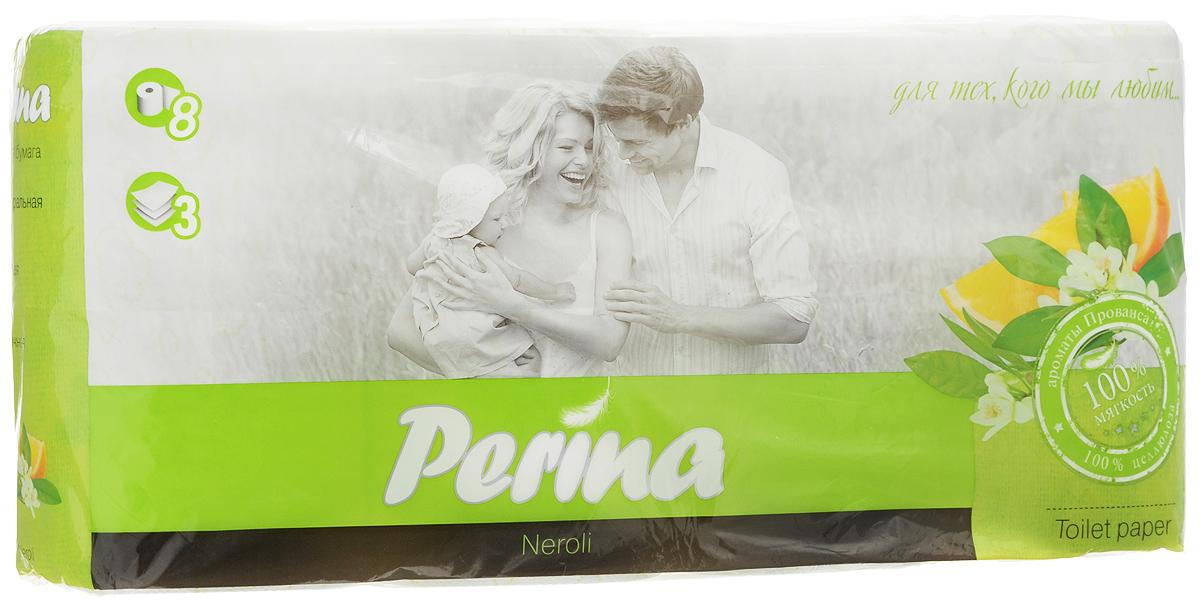Бумага туалетная Perina Neroli, ароматизированная, трехслойная, 8 рулонов206Ароматизированная туалетная бумагаPerina Neroli выполнена из натуральной целлюлозы и обладаетприятным ароматом. Трехслойная туалетная бумага мягкая, нежная, но в тоже время прочная. Листы имеютрисунок с перфорацией.Длина рулона: 18,8 м. Количество листов: 150 шт. Количество слоев: 3. Размер листа: 12,5 х 9,4 см. Состав: 100% целлюлоза.