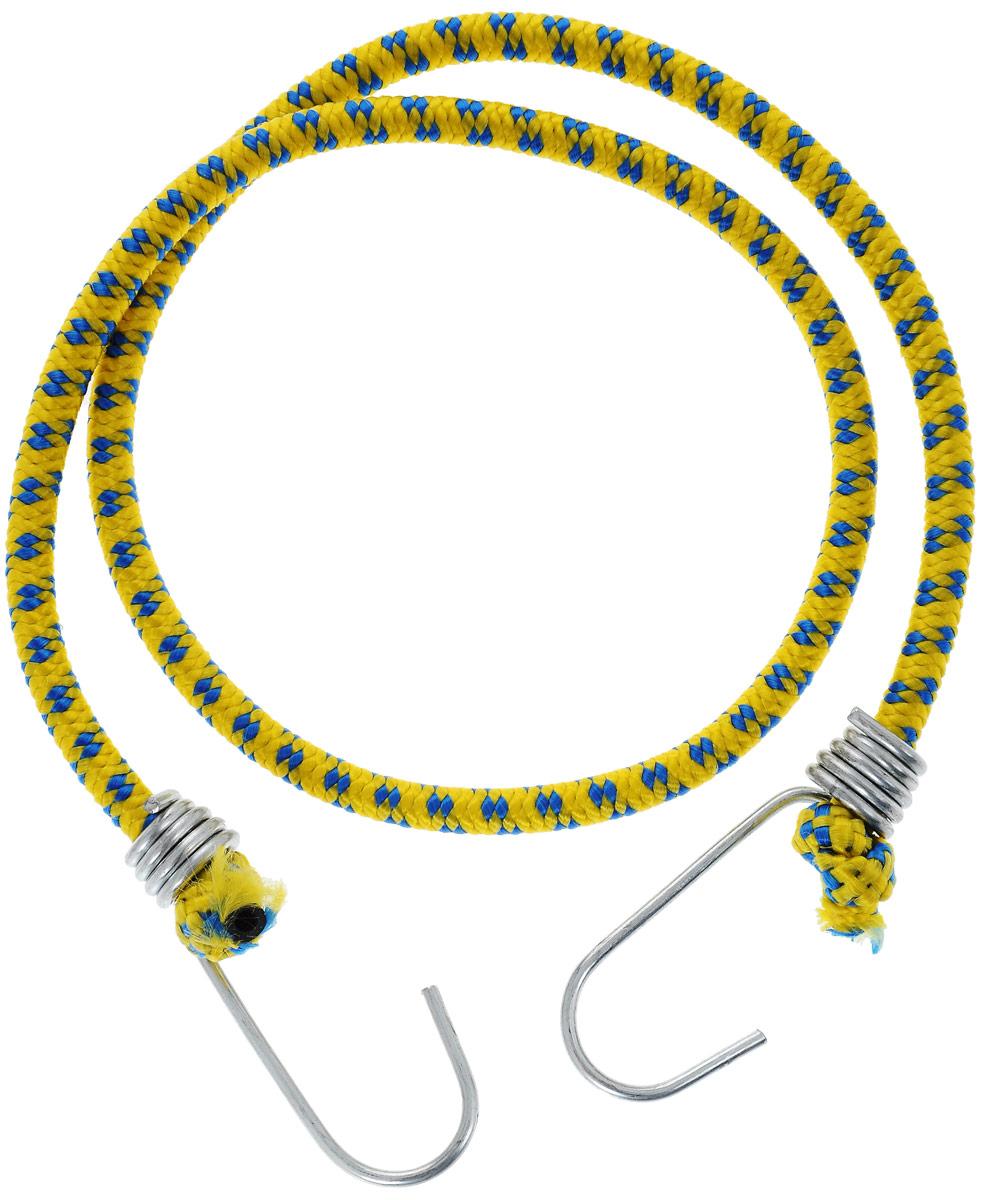 Резинка багажная МастерПроф, с крючками, цвет: желтый, синий, 0,6 х 80 см. АС.020021АС.020021_желтый, синийБагажная резинка МастерПроф, выполненная из синтетического каучука, оснащена специальными металлическими крючками, которые обеспечивают прочное крепление и не допускают смещения груза во время его перевозки. Изделие применяется для закрепления предметов к багажнику. Такая резинка позволит зафиксировать как небольшой груз, так и довольно габаритный.Температура использования: -15°C до +50°C.Безопасное удлинение: 60%.Диаметр резинки: 6 мм.Длина резинки: 80 см.