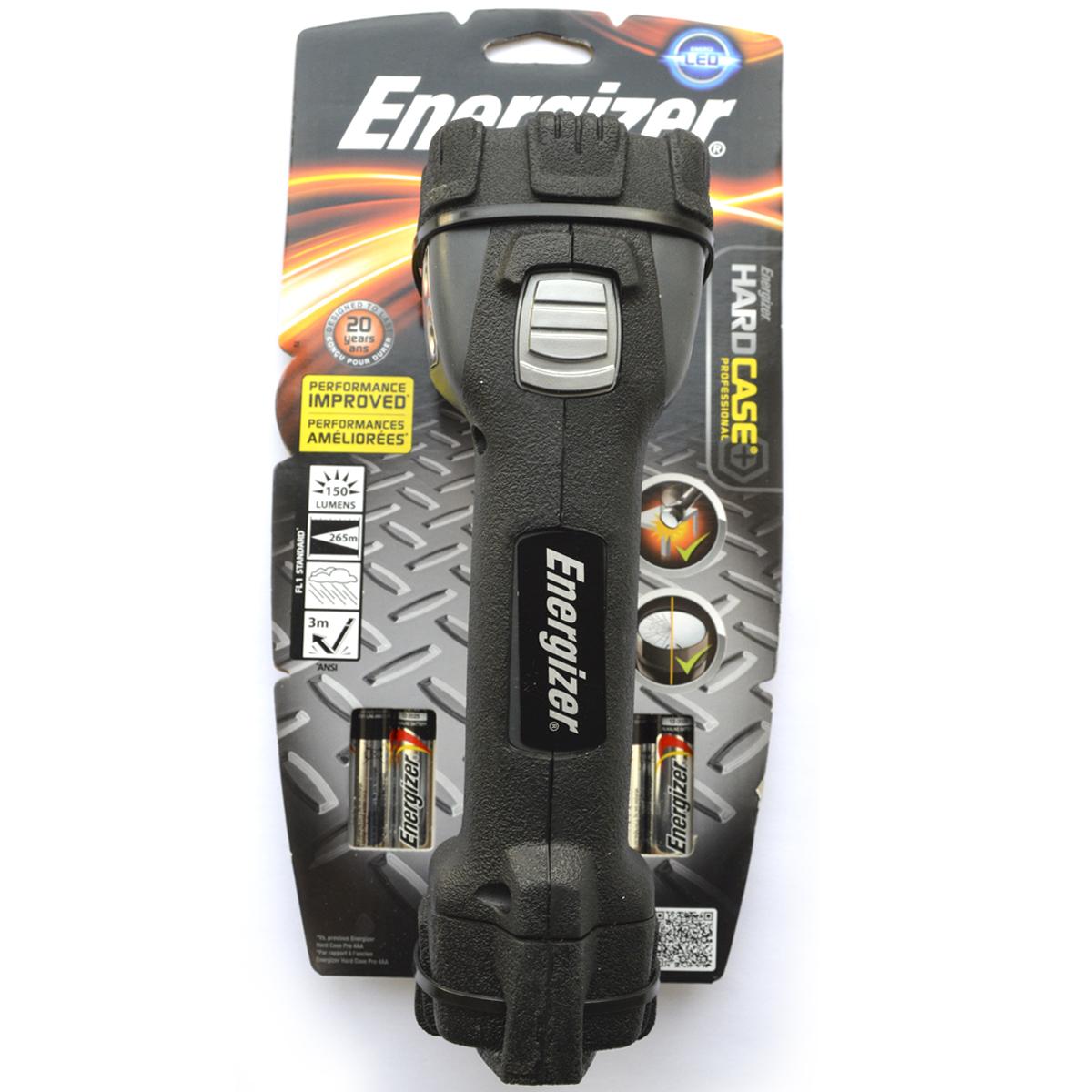 Фонарь ручной Energizer HardCase Pro 1LED638532Яркий белый точечный светодиод создает мощный узконаправленный луч.Высокая ударопрочность.Безосколочные линзы – небьющиеся.Чрезвычайно длительный срок службы – рассчитан на 15 лет. Работает от 4 щелочных батареек типоразмера AA (в комплекте).