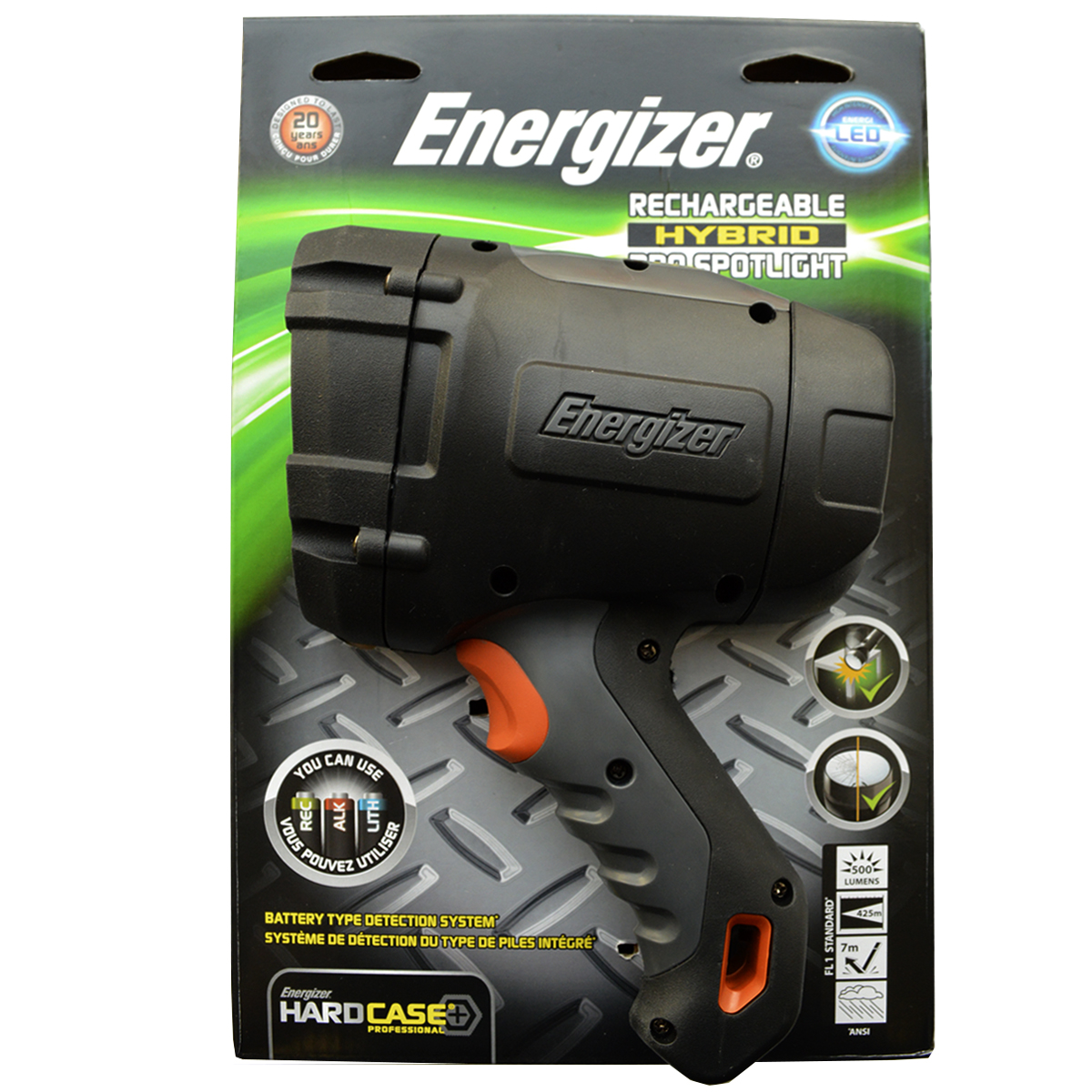 Фонарь ручной Energizer HardCasePro Rech. 639619639619Очень удобно – работает от аккумуляторных, щелочных и литиевых батареек Инновационная уникальная система распознавания батареек Светодиод Cree Автомобильное зарядное устройство в комплекте Чрезвычайно длительный срок службы – рассчитан на 15 лет Работает от 4 аккумуляторных батареек типоразмера AA (в комплекте)