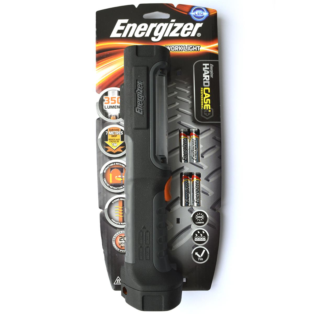 Фонарь ручной Energizer HardCase Pro Work Lig. 6398256398256 сверхярких светодиода Исключительная ударопрочность — устойчив к падению с высоты до 7 метров Выдвижной крючок для подвешивания Встроенные магнитные крепления для полной свободы рук Небьющиеся линзы Высокая прочность и надежность Исключительно длительный срок службы — 20 лет В комплект входят 4 батарейки типоразмера AA