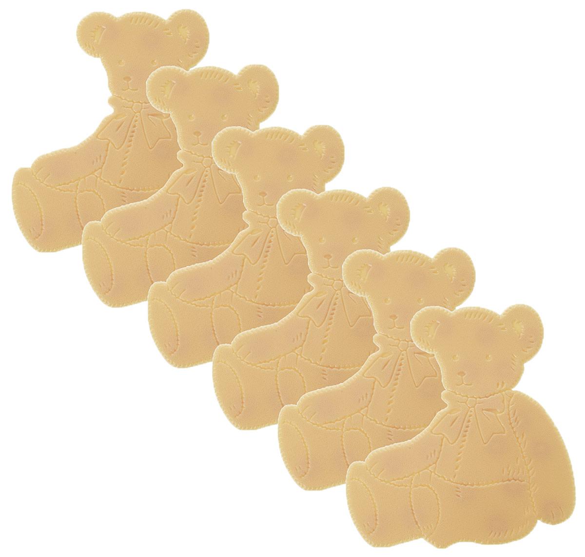 Valiant Мини-коврик для ванной комнаты Медвежонок на присосках 6 штK6-12Мини-коврик для ванной комнаты Valiant Медвежонок - это модный и экономичный способ сделать вашу ванную комнату более уютной, красивой и безопасной.В наборе представлены 6 мини-ковриков в виде забавных медвежат. Коврики прочно крепятся на любую гладкую поверхность с помощью присосок. Расположите коврик там, где вам необходимо яркое цветовое пятно и надежная противоскользящая опора - на поверхности ванной, на кафельной стене или стенке душевой кабины, на полу - как дополнение вашего коврика стандартного размера.Мини-коврики Valiant незаменимы при купании маленького ребенка: он не поскользнется и не упадет, держась за мягкую и приятную на ощупь рифленую поверхность коврика.Рекомендации по уходу: после использования тщательно смойте остатки мыла или других косметических средств с коврика.
