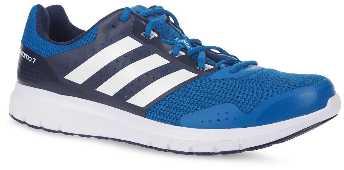 Кроссовки мужские для бега adidas Performance Duramo 7 m, цвет: темно-синий, синий. AQ6494. Размер 11 (44,5)AQ6494Модные мужские кроссовки Duramo 7 от adidas Performance придутся вам по душе. Верх,выполненный из сетчатого дышащего текстиля, дополнен бесшовными накладками из ПВХ.Одна из боковых сторон и язычок оформлены названием и логотипом бренда, другая сторона -названием модели. Подкладка из текстиля не натирает. Стелька Ortholite из материала ЭВА стекстильной поверхностью комфортна при движении. Классическая шнуровка с прорезиненнойпанелью надежно фиксирует модель на ноге. Легкая промежуточная подошва из материала ЭВАобладает высокой износостойкостью и обеспечивает идеальную амортизацию. Резиноваяподошва с протектором гарантирует идеальное сцепление с любыми поверхностями. Такиекроссовки - отличный вариант для бега на короткие и длинные дистанции.