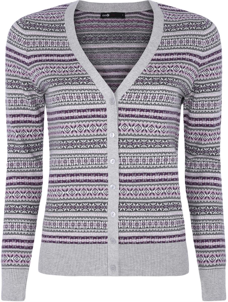 Кофта женская oodji Ultra, цвет: серый, сиреневый, фиолетовый. 63212504/43510/2380J. Размер XXS (40)