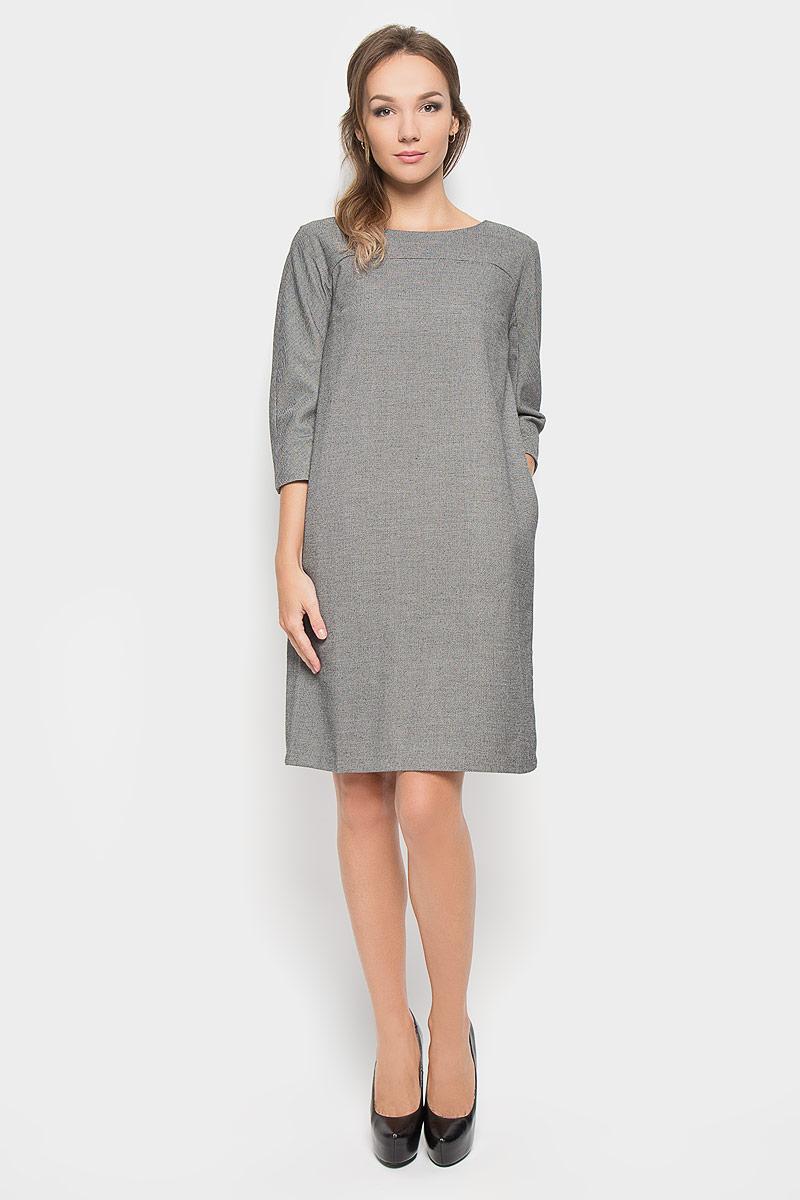 Платье Baon, цвет: черный, белый. B456. Размер L (48)B456Стильное платье Baon, изготовленное из высококачественного комбинированного материала, поможет создать привлекательный образ. Материал изделия мягкий, тактильно приятный, позволяет коже дышать. Изделие дополнено тонкой подкладкой.Модель с круглым вырезом горловины и цельнокроеными рукавами длиной 3/4. По спинке изделие закрывается на потайную застежку-молнию. Платье-миди дополнено втачными карманами в боковых швах. Такое платье будет дарить вам комфорт в течение всего дня, и послужит замечательным дополнением к вашему гардеробу.