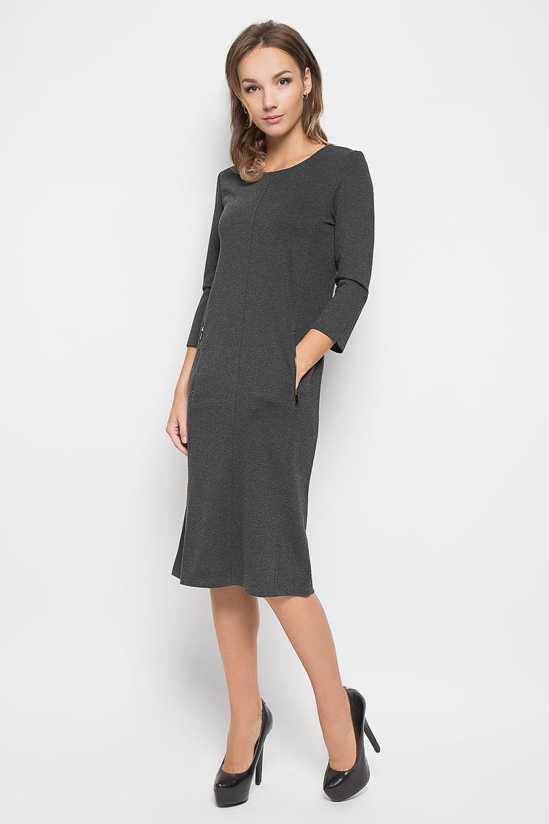 Платье Baon, цвет: темно-серый. B446. Размер S (44)B446Элегантное платье Baon выполнено из высококачественного плотного трикотажа. Такое платье обеспечит вам комфорт и удобство при носке и непременно вызовет восхищение у окружающих.Платье-миди с рукавами 7/8 и круглым вырезом горловины выгодно подчеркнет все достоинства вашей фигуры. Модель дополнена двумя втачными карманами на застежках-молниях. Изысканное платье-миди создаст обворожительный и неповторимый образ.Это модное и комфортное платье станет превосходным дополнением к вашему гардеробу, оно подарит вам удобство и поможет подчеркнуть ваш вкус и неповторимый стиль.