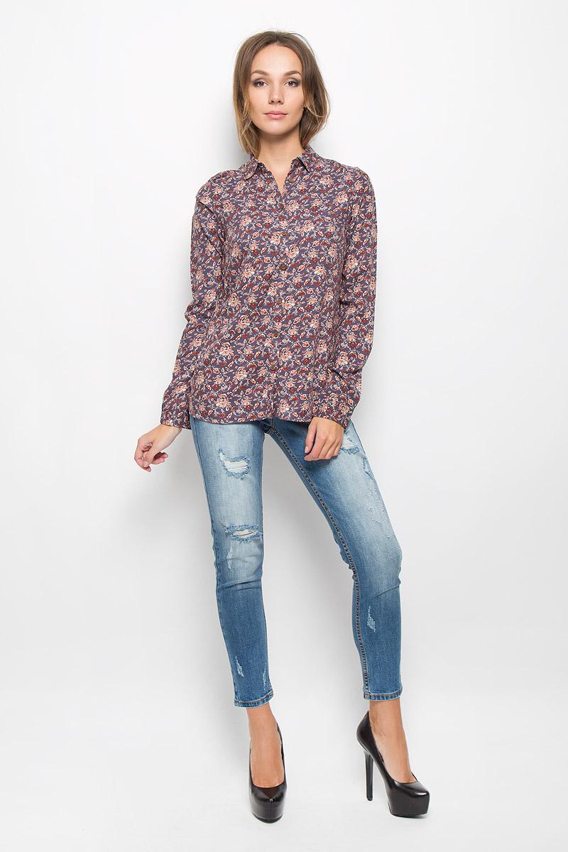 Блузка женская Sela Casual, цвет: серо-фиолетовый. B-112/1040-6393. Размер M (46)  - купить со скидкой