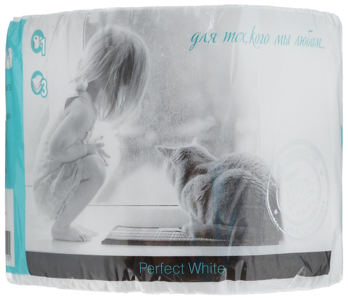 Бумага туалетная Perina Perfect White, трехслойная, 1 рулон121Туалетная бумагаPerina Perfect White выполнена из натуральной целлюлозы. Трехслойная туалетная бумага мягкая, нежная, но в тоже время прочная. Листы имеютрисунок с перфорацией.Длина рулона: 18,8 м.Количество листов: 150 шт.Количество слоев: 3.Размер листа: 12,5 х 9,4 см.