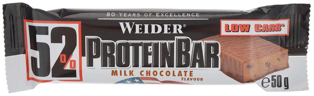 Батончик протеиновый Weider 52% ProteinBar, молочный шоколад, 50 г30637Батончик протеиновый Weider 52% ProteinBar - это уникальный протеиновый батончик с высоким содержанием белка (молочный, соевый и коллагеновый протеины). Батончик лишен насыщенных жиров. Из 15 г углеводов на один батончик только 1,3 г углеводов Net Carbs. Net Carbs - это углеводы, которые повышают содержание сахара в крови (например, сахар). Чем меньше Net Carbs, тем лучше. При таком количестве белка батончик имеет неповторимый вкус. Батончик идеален для утоления легкого голода между приемами пищи. Может заменить протеиновый коктейль для увеличения белков в дневном рационе. Еще никогда протеиновый батончик не был таким вкусным и полезным! Рекомендации по применению:Съедайте 1-2 батончика в день между приемами пищи, за час перед тренировкой или сразу после нее.Состав: белковая смесь (концентрат сывороточного протеина, казеинат кальция, яичный белок), гидролизат коллагена, увлажнитель: глицерин, 16% молочного шоколада (мальтитом, какао-масло, молоко сухое цельное, какао тертое, эмульгатор: соевый лецитин, ароматизатор), вода, изолят соевого белка, обезжиренный какао-порошок, растительный жир, ароматизатор, соль, подсластитель: сукралоза. Товар сертифицирован.Как повысить эффективность тренировок с помощью спортивного питания? Статья OZON Гид