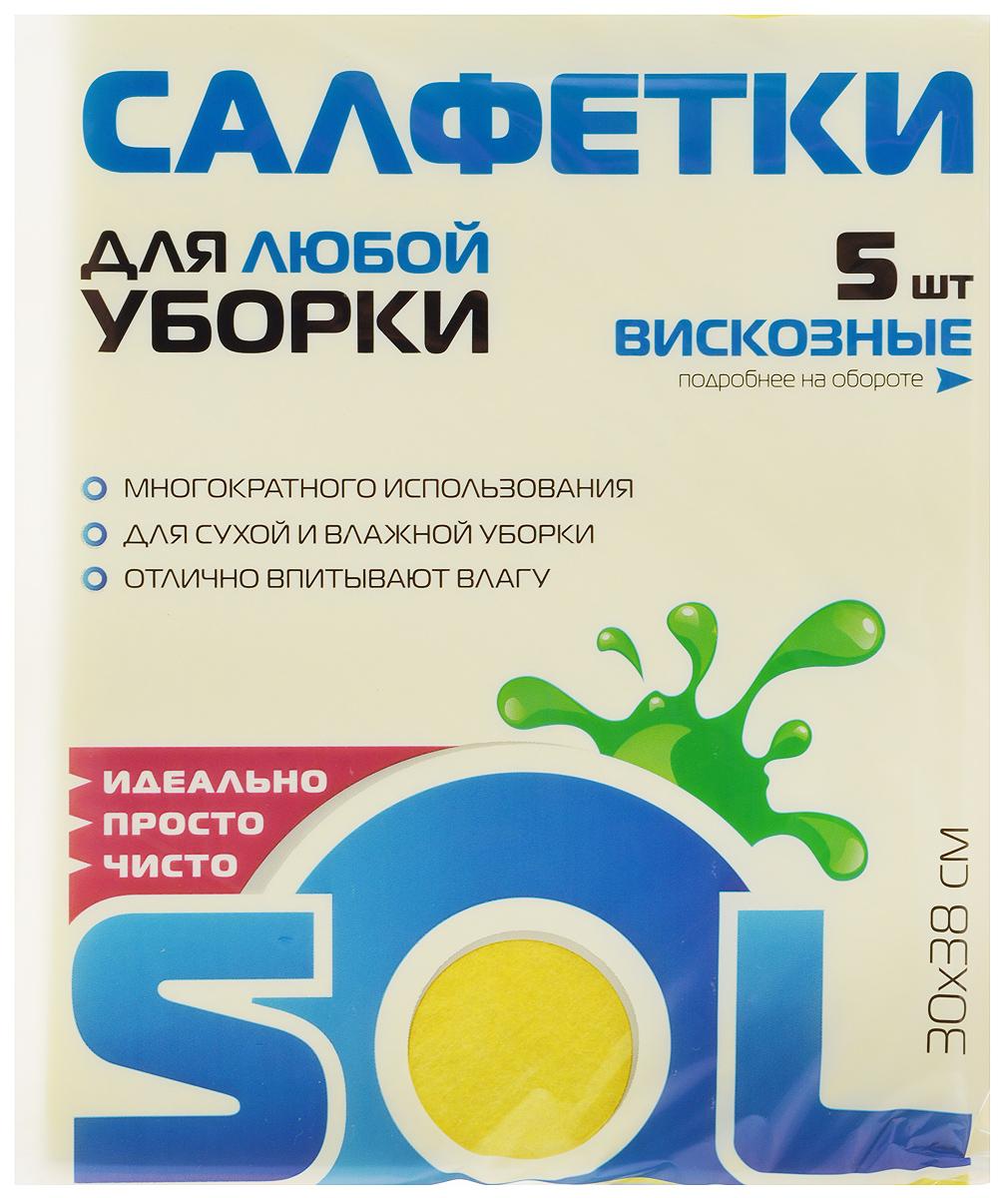 Салфетка для уборки Sol из вискозы, универсальная, цвет: желтый, 30 x 38 см, 5 шт10003/70010_желтыйСалфетки для уборки Sol, выполненные из вискозы и полиэстера, предназначены для уборки и могут применяться сразличными моющимисредствами. Эффективно впитывают жидкость. Мягкие и прочные, легкоотжимаются и быстро сохнут.Рекомендации по уходу: Для обеспечения гигиеничности уборки после применения прополоскать в теплойводе.Для продления срока службы не применять машинную стирку, не гладить и некипятить.