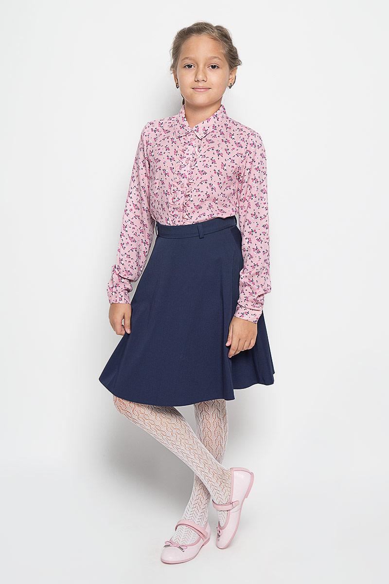 Блузка для девочки Sela, цвет: розовый. B-612/180-6342. Размер 140, 10 летB-612/180-6342Стильная блузка для девочки Sela, выполненная из 100% вискозы, станет отличным дополнением к детскому гардеробу. Благодаря составу, изделие тактильно приятное, не сковывает движений, позволяет коже дышать. Блузка с отложным воротником и длинными рукавами застегивается на пуговицы по всей длине. На рукавах предусмотрены манжеты на пуговицах. Украшена модель тонкой оборкой вдоль планки. Блузка оформлена цветочным принтом. Оригинальный дизайн и высокое качество исполнения принесут удовольствие от покупки и подарят отличное настроение!