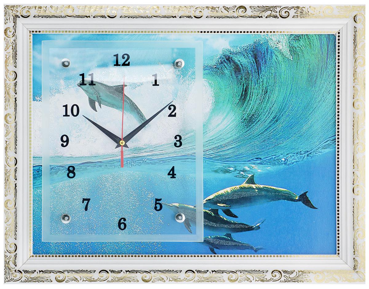 Часы-картина настенные Proffi Home Дельфины, 35 х 45 смВ23Настенные кварцевые часы-картина Proffi Home Дельфины, изготовленные из ДВП и стекла, прекрасно подойдут под интерьер вашего дома. Прямоугольные часы имеют три стрелки: часовую, минутную и секундную. Изделие оформлено белой рамкой с золотым узором. Часы работают от 1 батарейки типа АА напряжением 1,5 В (не входит в комплект). Размер изделия (с учетом рамки): 35 х 45 х 3 см.Размер часов: 20 х 25 см.
