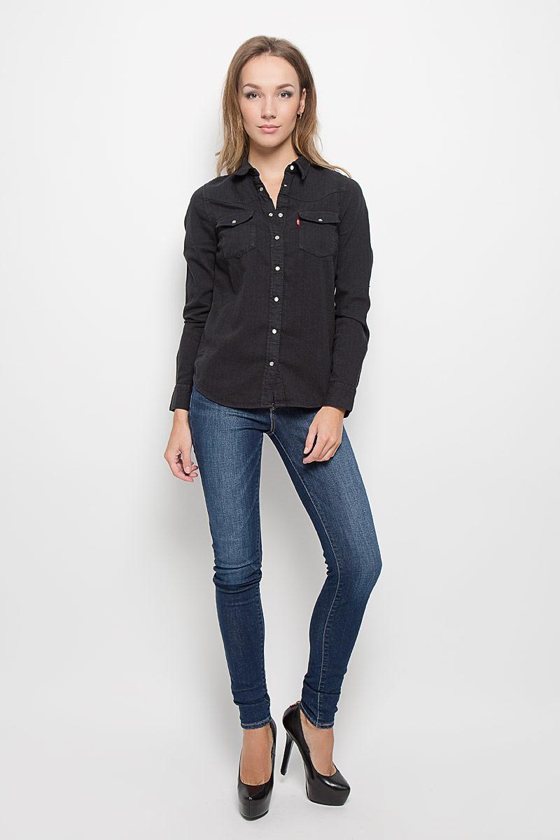 Рубашка женская Levis®, цвет: черный. 2499600030. Размер M (46)2499600030Стильная женская рубашка Levis®, выполненная из натурального хлопка, очень мягкая, приятная на ощупь и позволяет коже дышать, тем самым обеспечивая наибольший комфорт при носке. Модель с отложным воротником застегивается на кнопки, сверху - на пуговицу. Длинные рукава рубашки дополнены манжетами на кнопках. На груди расположены два накладных кармана с клапанами на кнопках.Такая рубашка подчеркнет ваш вкус и поможет создать великолепный стильный образ.