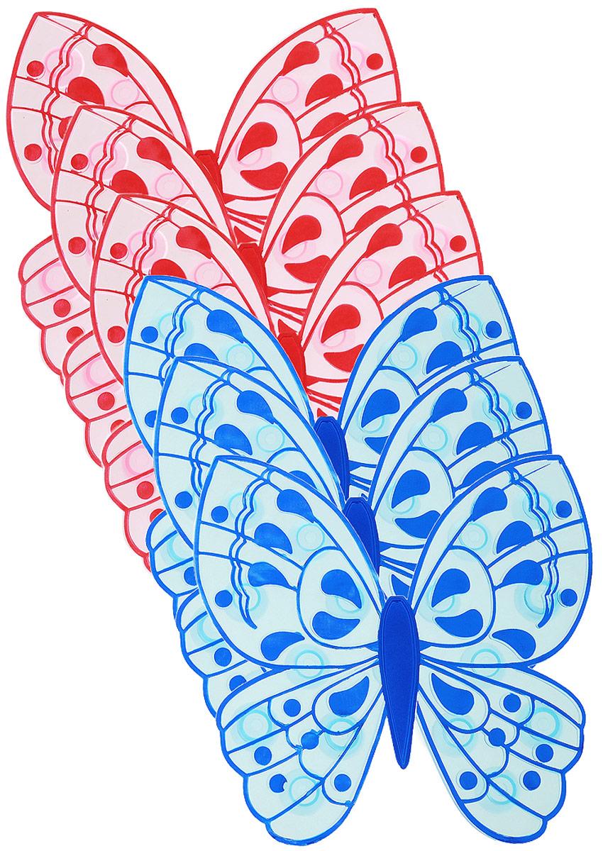 """Мини-коврик для ванной комнаты Valiant """"Бабочка"""" - это модный и экономичный способ сделать вашу ванную комнату более уютной, красивой и безопасной.В наборе представлены 6 мини-ковриков в виде красных и синих бабочек. Коврики прочно крепятся на любую гладкую поверхность с помощью присосок. Расположите коврик там, где вам необходимо яркое цветовое """"пятно"""" и надежная противоскользящая опора - на поверхности ванной, на кафельной стене или стенке душевой кабины, на полу - как дополнение вашего коврика стандартного размера.Мини-коврики """"Valiant"""" незаменимы при купании маленького ребенка: он не поскользнется и не упадет, держась за мягкую и приятную на ощупь рифленую поверхность коврика.Рекомендации по уходу: после использования тщательно смойте остатки мыла или других косметических средств с коврика."""
