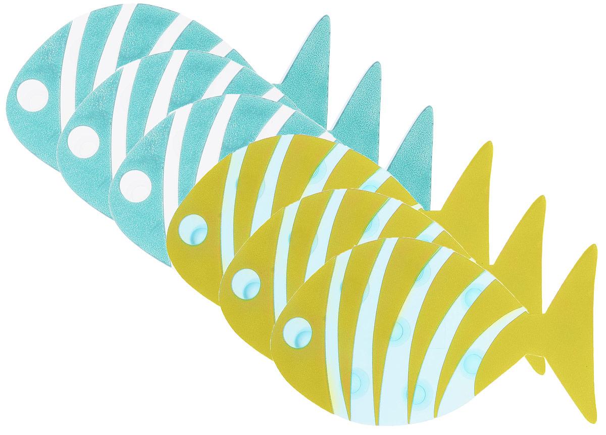 """Мини-коврик для ванной комнаты Valiant """"Рыба полосатая"""" - это модный и экономичный способ сделать вашу ванную комнату более уютной, красивой и безопасной.В наборе представлены 6 мини-ковриков в виде рыбок. Коврики прочно крепятся на любую гладкую поверхность с помощью присосок. Расположите коврик там, где вам необходимо яркое цветовое """"пятно"""" и надежная противоскользящая опора - на поверхности ванной, на кафельной стене или стенке душевой кабины, на полу - как дополнение вашего коврика стандартного размера.Мини-коврики """"Valiant"""" незаменимы при купании маленького ребенка: он не поскользнется и не упадет, держась за мягкую и приятную на ощупь рифленую поверхность коврика.Рекомендации по уходу: после использования тщательно смойте остатки мыла или других косметических средств с коврика."""