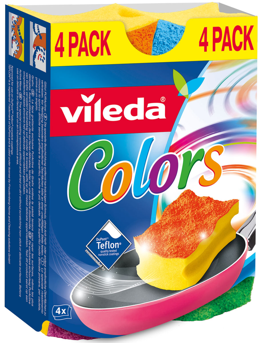 Губка Vileda Pure Colors (высокий поролон)32110055Упаковка: 4 шт.Толстый поролонУдобна в использовании за счет специальных пазов для пальцев.