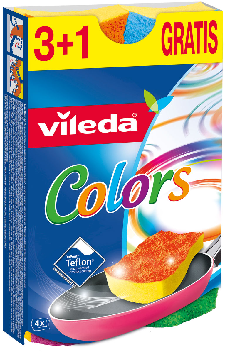 Губка Vileda Pure Colors, 3+1 шт