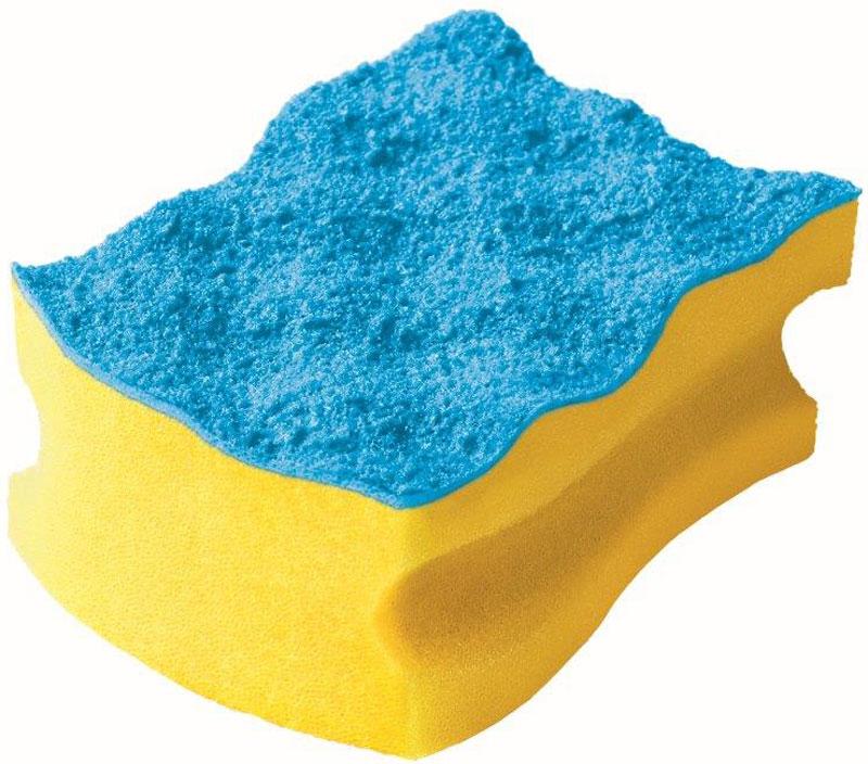 Губка Vileda Pure Colors, без упаковки, цвет: желтый, голубой32110057Упаковка: 1 шт.Толстый поролонУдобна в использовании за счет специальных пазов для пальцев