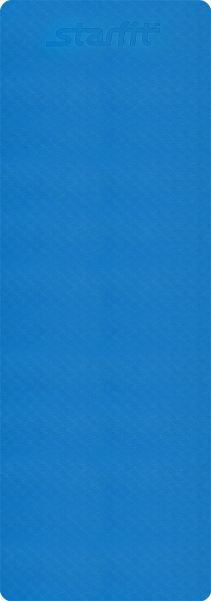 Коврик для йоги Starfit, цвет: синий, серый, 173 x 61 x 0,4 смУТ-00008846Коврик для йоги Star Fit - это незаменимый аксессуар для любого спортсмена как во время тренировки, так и во время пре-стретчинга (растяжки до тренировки) и стретчинга (растяжки после тренировки). Выполнен из высокопрочного эластомера. Коврик используются в фитнесе, йоге, функциональном тренинге. Его используют спортсмены различных видов спорта в своем тренировочном процессе.Предпочтительно использовать без обуви. Если в обуви, то с мягкой подошвой, чтобы избежать разрыва поверхности коврика.