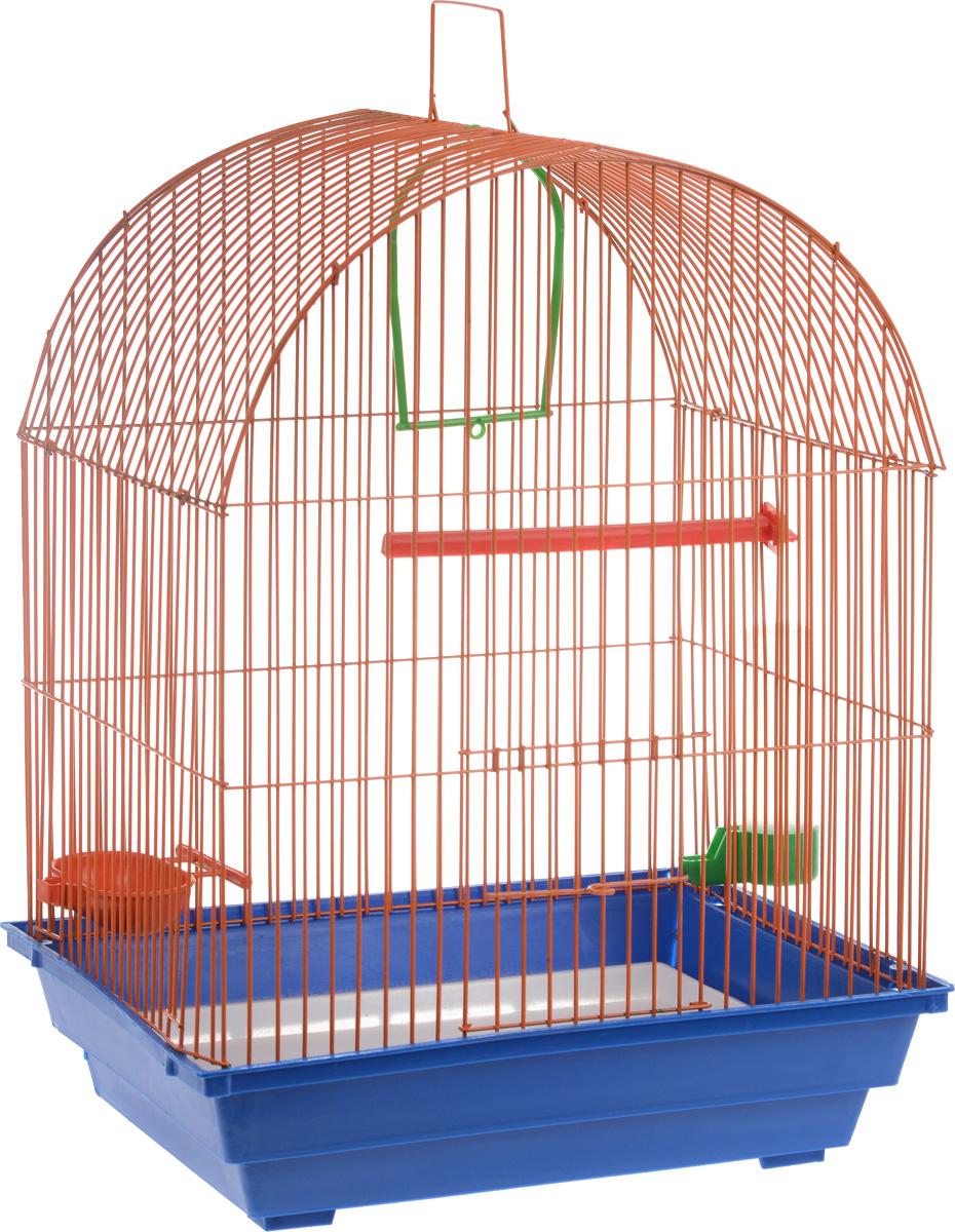 Клетка для птиц ЗооМарк, цвет: синий поддон, оранжевая решетка, 35 х 28 х 52 см440_синий, оранжевыйКлетка ЗооМарк, выполненная из полипропилена и металла, предназначена для мелких птиц. Вы можете поселить в нее одну или две птицы. Изделие состоит из большого поддона и решетки. Клетка снабжена металлической дверцей, которая открывается и закрывается движением вверх-вниз. В основании клетки находится малый поддон. Клетка удобна в использовании и легко чистится. Она оснащена жердочкой, кольцом для птицы, кормушкой, поилкой и подвижной ручкой для удобной переноски. Комплектация: - клетка с поддоном, - малый поддон; - кормушка; - поилка; - кольцо.