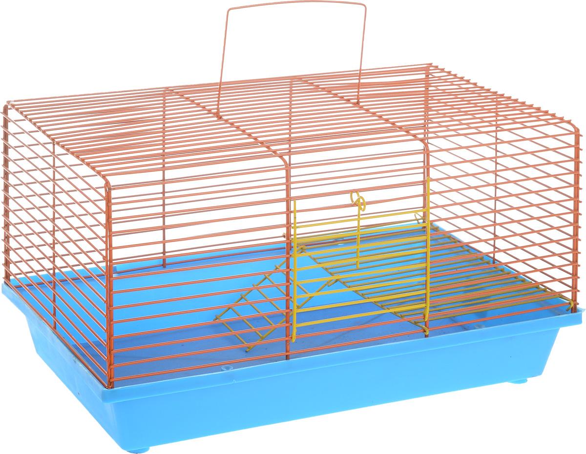 """Клетка для хомяка """"ЗооМарк"""", 2-этажная, цвет: синий поддон, оранжевая решетка, 36 х 23 х 20 см"""