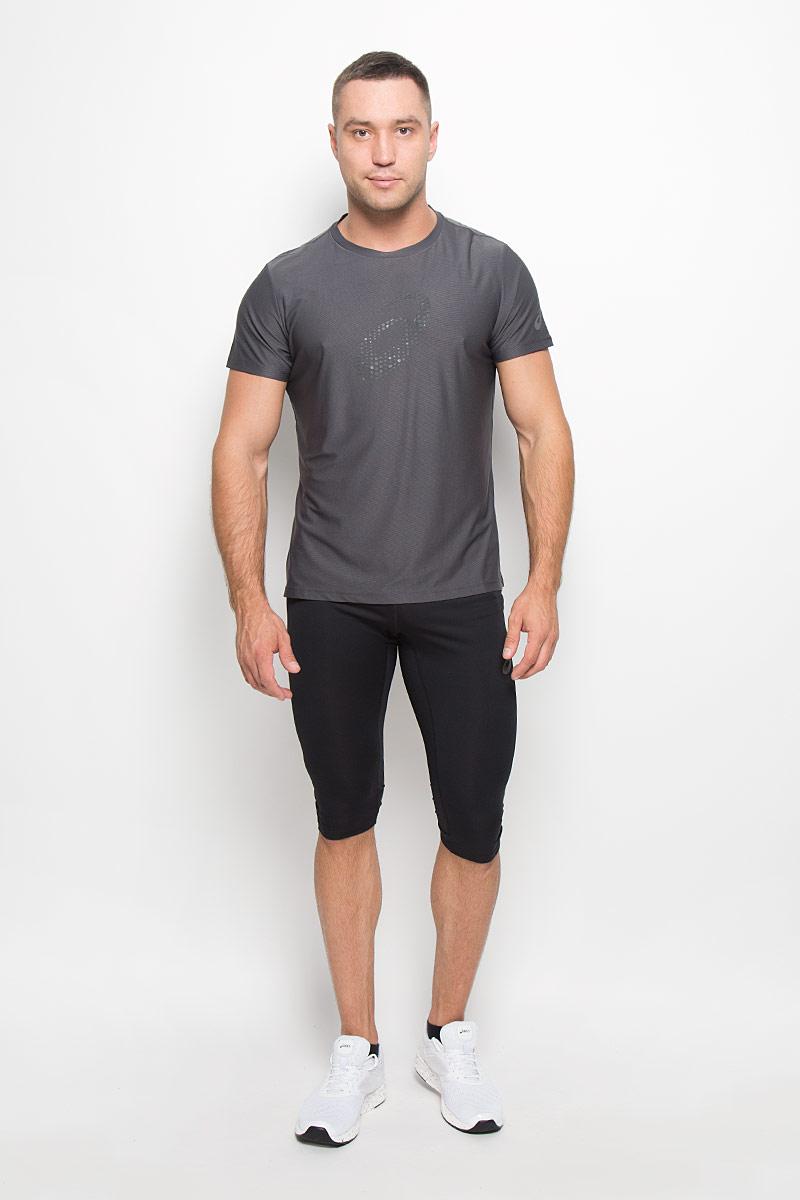 Футболка для бега мужская Asics Graphic SS Top, цвет: серый. 134085-0779. Размер XXL (54/56) лонгслив для бега мужской asics ls hoodie цвет серый 144015 0773 размер xxl 54 56