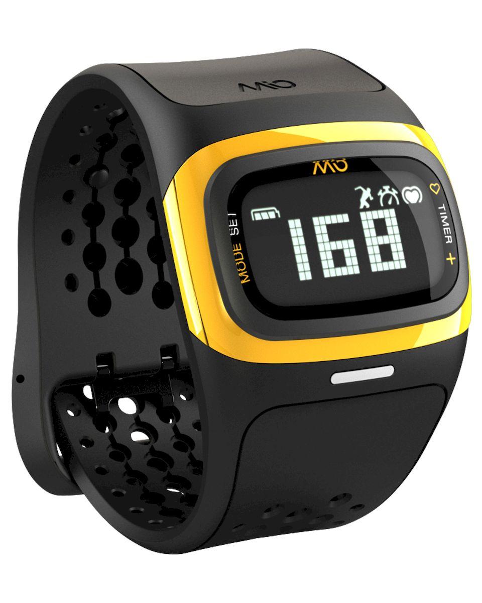 Спортивные часы Mio Global Alpha 2, цвет: черный, желтый. 58P-YLW58P-YLWMio Global Alpha 2 - это спортивные часы с высокоточным оптическим пульсометром и одновременно фитнес-трекер, которые могут работать как самостоятельно, так и в паре с популярными фитнес-приложениями на смартфонах на базе iOS и Android.Особенности:- Датчик пульса (MIO Optical Heart Rate Technology),- Подключается к смартфону по Bluetooth Smart (Bluetooth 4.0),- Отображение пульса на дисплее в режиме реального времени,- Часы, хронограф и различные таймеры для режима тренировки,- Подсчет ежедневной активности (шаги, калории, дистанция),- Отображение данных тренировки на дисплее (темп, скорость, дистанция),- Подсчет затраченных калорий исходя из нагрузки на сердце (пульса),- Звуковые уведомления при переходе между зонами пульса,- RGB-светодиод, индицирующей одну из пяти пульсовых зон,- Монохромный ЖК-дисплей с подсветкой / водонепроницаемость - 30 м,- Аккумулятор: 3 месяца в базовом режиме / 20-24 часа в режиме тренировки,- Память: 14 дней в базовом режиме / до 25 часов данных тренировок,- Совместимость: iPhone & Android / собственные приложения и популярные сторонние.