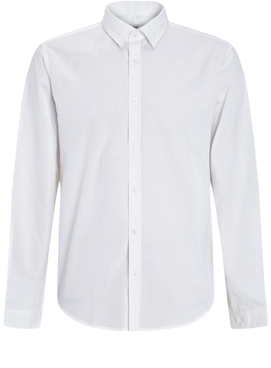 Рубашка мужская oodji Basic, цвет: белый. 3B110012M/23286N/1000N. Размер 40 (48-182)3B110012M/23286N/1000NСтильная мужская рубашка oodji Basic выполнена из натурального хлопка. Модель с отложным воротником и длинными рукавами застегивается на пуговицы спереди.