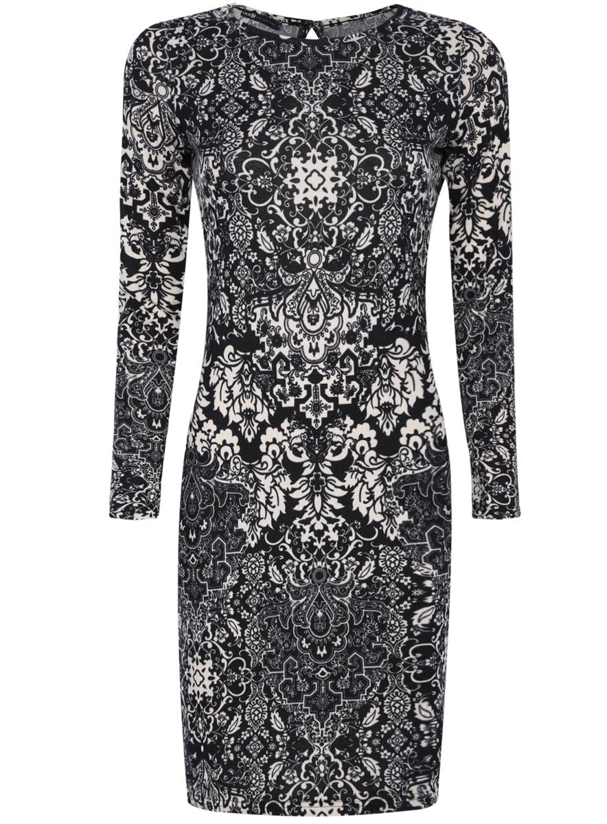 Платье oodji Collection, цвет: черный, светло-бежевый. 24001070-4/15640/2933E. Размер XS (42)