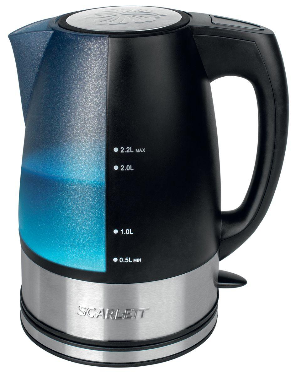 Scarlett SC-1020 электрический чайникSC-1020Чайник электрический Scarlett SC-1020 изготовлен из прочного термостойкого пластика. Внутри прибора находится скрытый нагревательныйэлемент. Наличие подсветки делает его привлекательным во время эксплуатации. Подсветка голубого цвета позволяет определять количествожидкости в чайнике в темноте. Данная модель позволит быстро вскипятить до 2,2 литра воды благодаря мощности 2200 Вт.