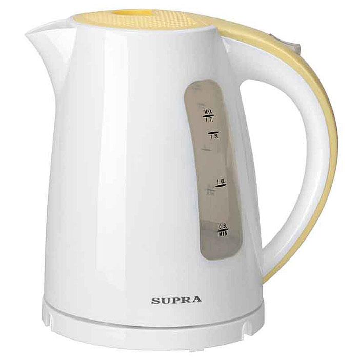 Supra KES-1726, White Yellow электрический чайникKES-1726 white/yellowЧайник Supra KES-1726 мощностью 2200 Вт и объемом 1,7 л позволит легко и быстро вскипятить воду для любимых горячих напитков. Компактная модель совмещает в себе все важные функции, которые позволят комфортнопользоваться чайником. Устройство автоматически отключается, когда вода в нем закипает и не включается, если воды в чайнике недостаточно. Более того, во время работы чайника горит соответствующий индикатор, а припомощи специальной шкалы на корпусе устройства вы всегда будете знать, хватит ли воды для чая. Удобство использования чайника дополняется стильным дизайном. Именно поэтому данная модель прекрасно смотрится влюбом кухонном интерьере.