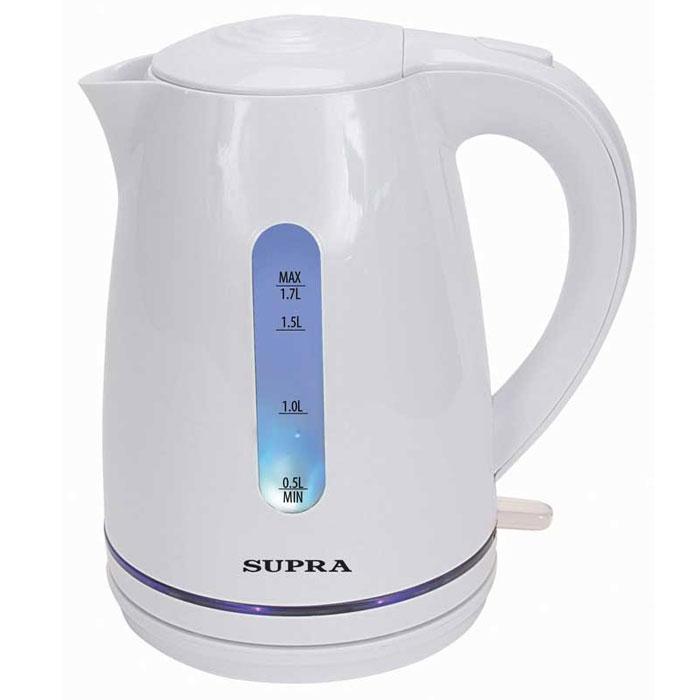 Supra KES-1729 электрический чайникKES-1729Чайник Supra KES-1729 мощностью 2200 Вт и объемом 1,7 л позволит легко и быстро вскипятить воду для любимых горячих напитков. Компактная модель совмещает в себе все важные функции, которые позволят комфортно пользоваться чайником. Устройство автоматически отключается, когда вода в нем закипает и не включается, если воды в чайнике недостаточно. Более того, во время работы чайника горит соответствующий индикатор, а при помощи специальной шкалы на корпусе устройства вы всегда будете знать, хватит ли воды для чая. Удобство использования чайника дополняется стильным дизайном. Именно поэтому данная модель прекрасно смотрится в любом кухонном интерьере.