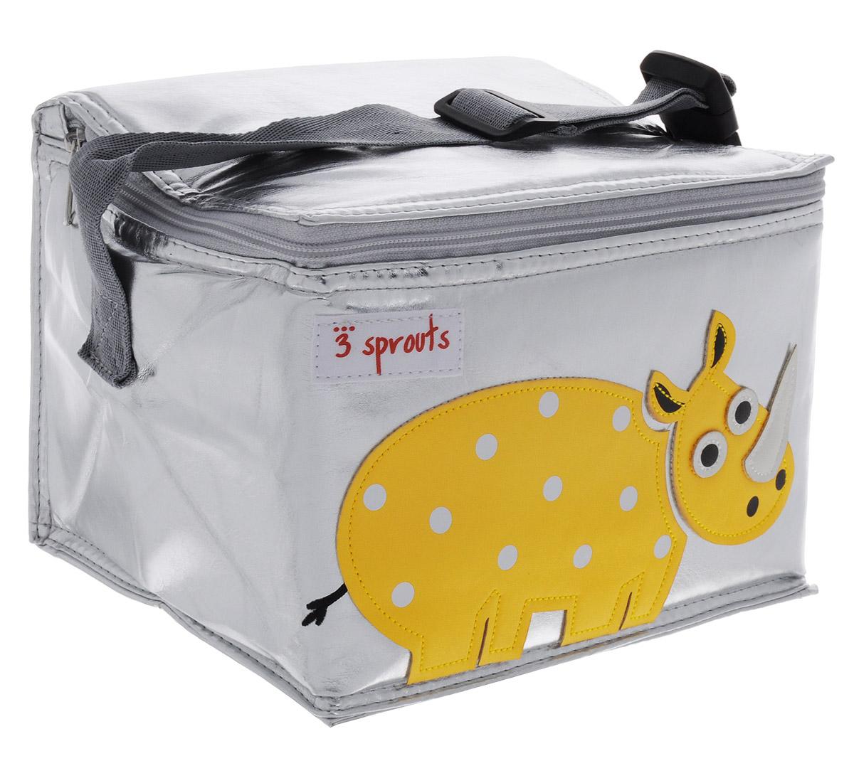 3 Sprouts Сумка для обеда Желтый носорог00003Сумка для обеда 3 Sprouts Желтый носорог идеальна для контейнеров, так что вы можете отправить детей в школу вместе с сытными закусками и обедами. В этой сумке еда не нагреется. Мыть ее чрезвычайно легко. Специальная бирка на внутренней поверхности сумки предназначена для указания имени ребенка. Прочная застежка-молния, хорошая вместительность, стильный серебристый цвет и красивая аппликация делают использование этой сумки удобным и приятным для ребенка. Регулируемый ремешок с защелкой позволит прикрепить сумку к рюкзаку или другой сумке.Сумка изготовлена без применения фталатов, PVC и свинца.