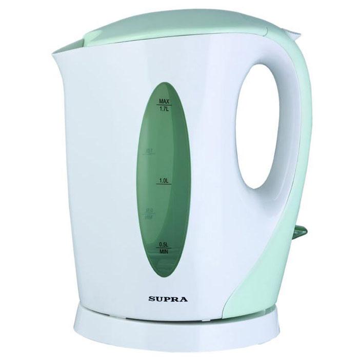 Supra KES-1702, Pistachio электрический чайникKES-1702 pistachioЕсли вам нужен простой и недорогой электрочайник, тогда Supra KES-1702 - идеально подходящая для вас модель. Корпус рассчитан на кипячение до 1,7 л воды за один раз. Этого хватит, чтобы напоить горячими напитками всюсемью. Независимо от того, какой стороной к вам повернут корпус, с двухсторонним индикатором уровня вы легко определите количество налитой воды. Встроенный фильтр препятствует проникновению накипи в вашу чашку, аблагодаря съемной конструкции его легко чистить от загрязнений.