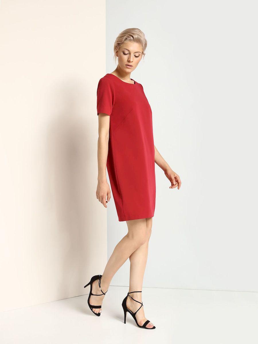 Платье Top Secret, цвет: темно-красный. SSU1625CE. Размер 34 (40)SSU1625CEСтильное платье Top Secret выполнено из полиэстера и вискозы с добавлением эластана.Платье-миди свободного кроя с круглым вырезом горловины и короткими рукавами застегивается на скрытую застежку-молнию, расположенную на спинке.