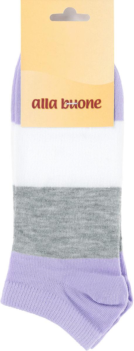 Носки женские Alla Buone, цвет: сиреневый, серый, белый. CD033. Размер 23 (35-37)CD033Удобные носки Alla Buone, изготовленные из высококачественного комбинированного материала, очень мягкие и приятные на ощупь, позволяют коже дышать. Эластичная резинка плотно облегает ногу, не сдавливая ее, обеспечивая комфорт и удобство. Носки с укороченным паголенком оформлены широкими контрастными полосками. Практичные и комфортные носки великолепно подойдут к любой вашей обуви.