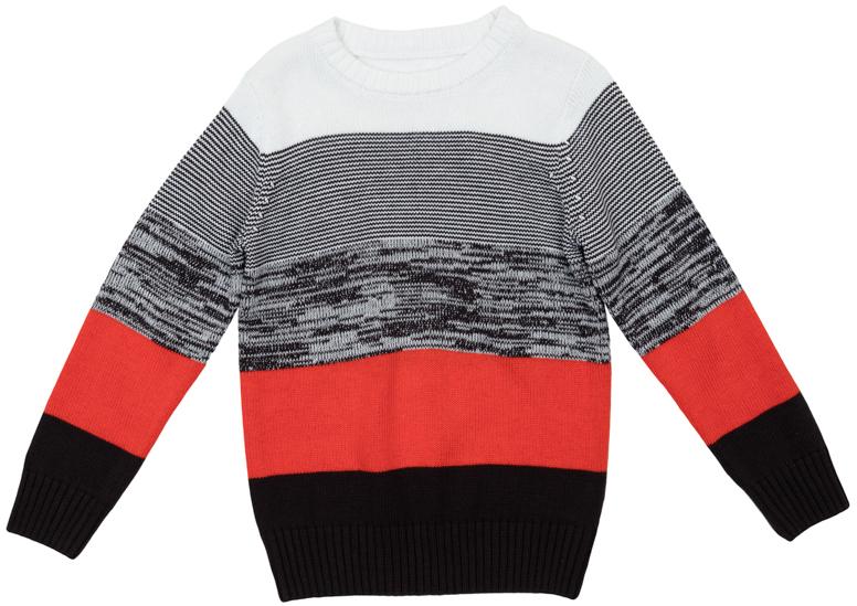 Джемпер для мальчика Scool, цвет: серый, белый, оранжевый. 363125. Размер 140363125Яркий джемпер для мальчика изготовлен из вязаного трикотажа. Воротник, манжеты и низ изделия связаны мягкой резинкой. Джемпер оформлен полосками разных цветов, что позволяет стильно сочетать его с любой одеждой.