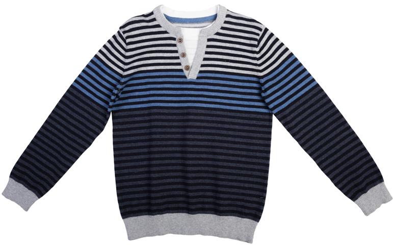 Джемпер для мальчика Scool, цвет: темно-серый, голубой, серый. 363074. Размер 134363074Удобный джемпер для мальчика изготовлен из вязаного эластичного трикотажа. Манжеты рукавов и низ изделия связаны широкой мягкой резинкой. Джемпер оформлен полосками разных цветов, что позволяет стильно сочетать его с любой одеждой. На воротнике имитация застежки-поло, создающая эффект многослойности.