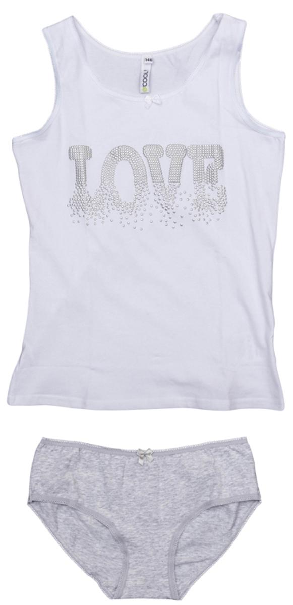 Комплект белья для девочки S'cool: майка, трусы, цвет: белый, серый меланж. 364190. Размер 146, 11 лет майки