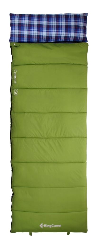 Мешок спальный KingCamp CAMPER 250 -5С, цвет: зеленыйУТ-000050622Спальник-одеяло с подголовником KingCamp CAMPER 250 -5С - незаменимая вещь для любителей уюта и комфорта во время активного отдыха. Спальный мешок закрывается на двустороннюю застежку-молнию. Этот теплый спальный мешок-одеяло спасет вас от холода во время туристического похода, поездки на рыбалку.Спальный мешок упакован в удобный компрессионный чехол.Внешний материал: нейлон 210T RipStop.Внутренний материал: 100% хлопок (фланель).Утеплитель: 1 слой 250 г/м2 SuperLoft HollowFibre.Размеры в упакованном виде: 36 х 24 см.Размеры: (190+30) х 75 см.Вес: 1750 г.