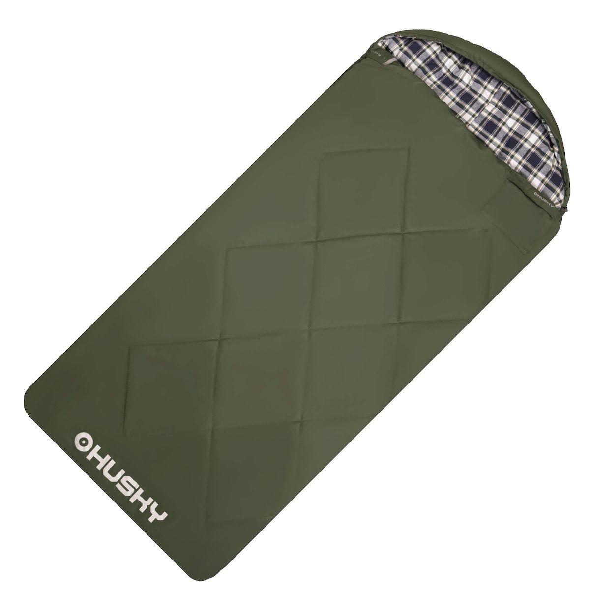 """Спальник-одеяло Husky """"GARY -5С"""", левая молния, цвет: зеленый"""