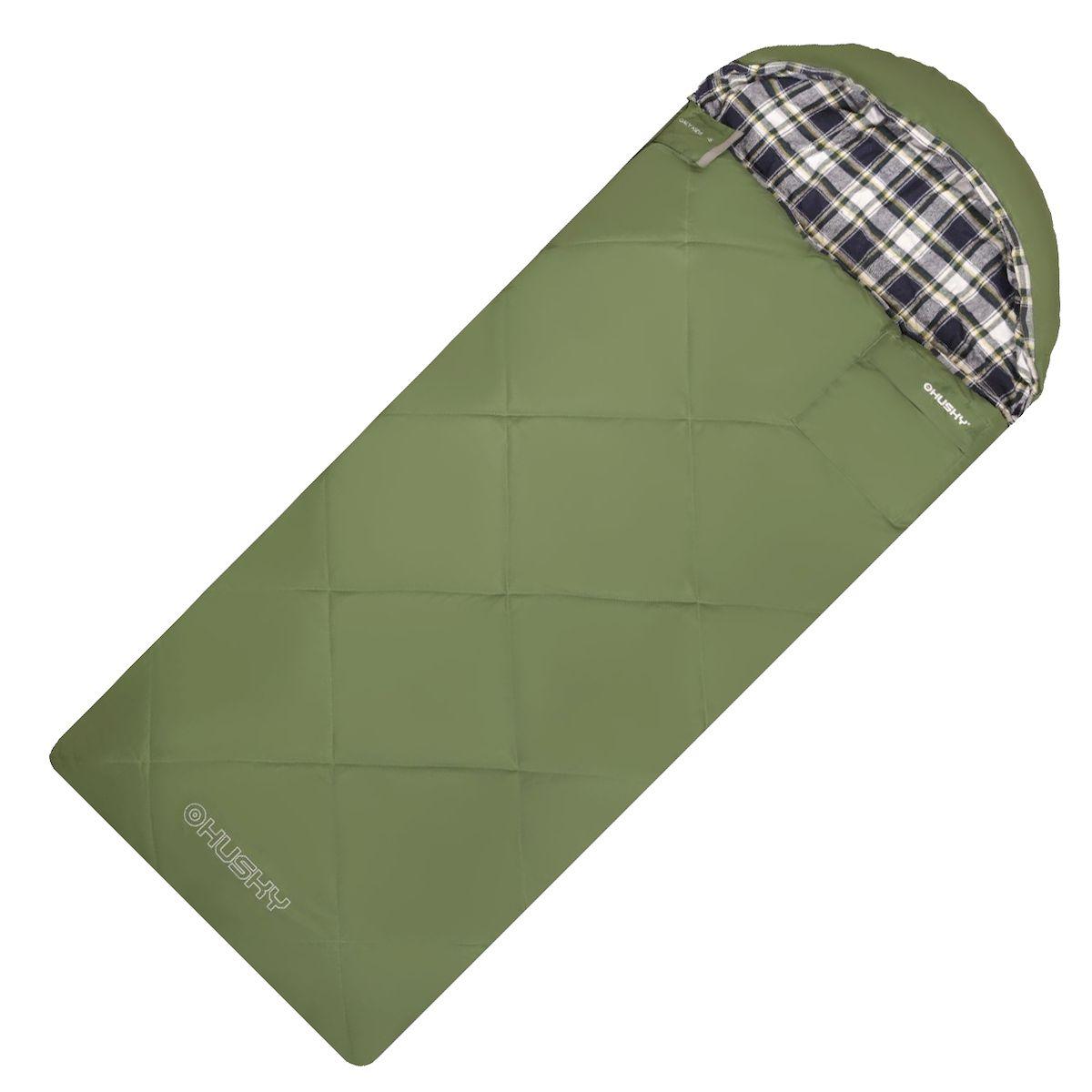"""Спальник-одеяло Husky """"GALY KIDS -5С"""", правая молния, цвет: зеленый"""