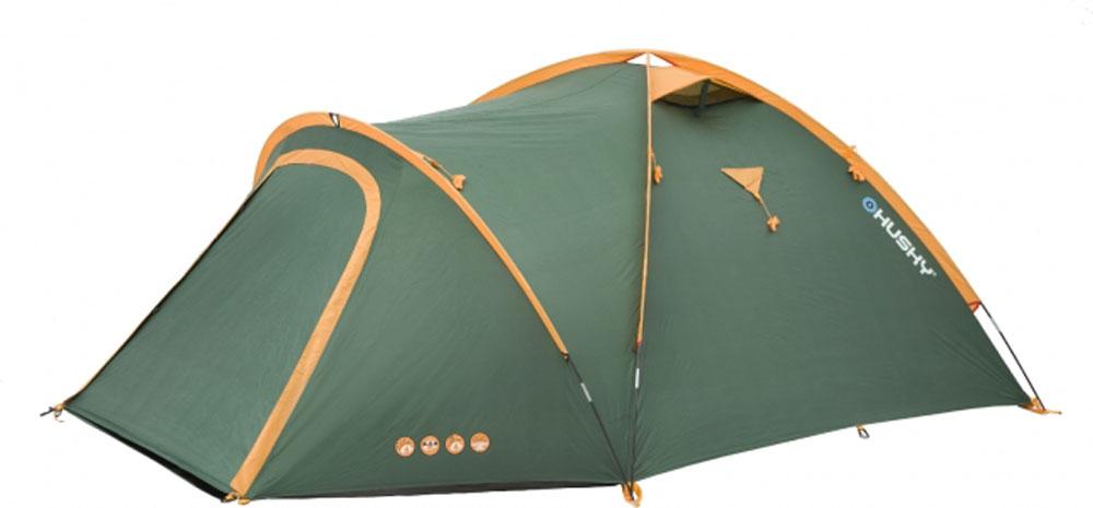 Палатка туристическая Husky Bizon 4 Classic, цвет: зеленый ободки bizon диадема