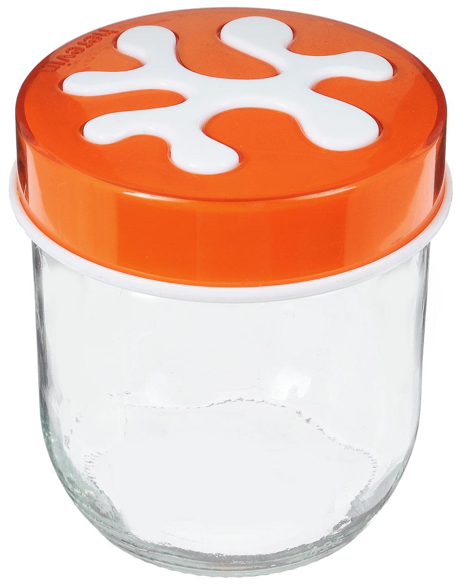 Банка для сыпучих продуктов Herevin, цвет: оранжевый, 400 мл135357-007_оранжевыйБанка для сыпучих продуктов Herevin изготовлена из прочного стекла и оснащена плотно закрывающейся пластиковой крышкой. Благодаря этому внутри сохраняется герметичность, и продукты дольше остаются свежими. Изделие предназначено для хранения различных сыпучих продуктов: круп, чая, сахара, орехов и т.д. Функциональная и вместительная, такая банка станет незаменимым аксессуаром на любой кухне. Можно мыть в посудомоечной машине. Пластиковые части рекомендуется мыть вручную.Объем: 400 мл.Диаметр (по верхнему краю): 7,5 см.Высота банки (без учета крышки): 8 см.