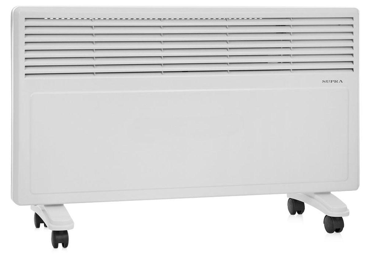 Supra ECS-420, White обогревательECS-420 whiteSupra ECS-420 - это электрический обогреватель конвективного типа.Холодный воздух, проходя через прибор и его нагревательный элемент, нагревается и выходит сквозь решетки-жалюзи, незамедлительно начиная обогревать помещение. Вся конструкция Supra ECS-420 направлена на равномерное распределение тепла для обогрева с максимальным комфортом. Бесшумная работа.В комплектемонтажная планка для настенного крепления иколёсики для напольного размещения и удобного перемещения.